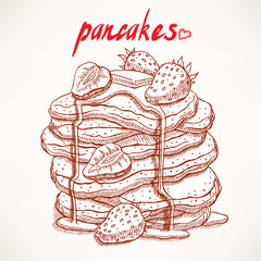 sketch pancakes with strawberries