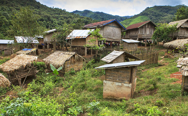 remote village in laotian jungle