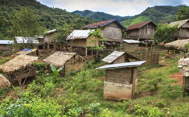 remote village in laotian jungle