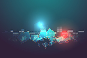 blue and red abstract technology vector background