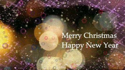 Happy New Year and Merry Christmas on abstract background