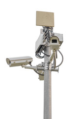 Security CCTV camera isolate on white background