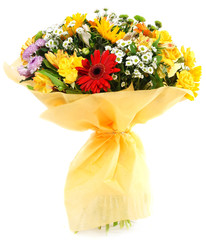 Bouquet of gerbera chrysanthemums and sunflowers