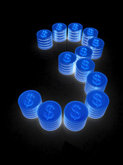 """the number """"three"""" of coins with dollar sign"""
