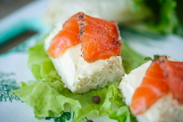 bread with cheese and salted salmon