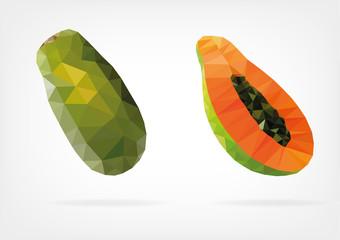 Low Poly Papaya fruit
