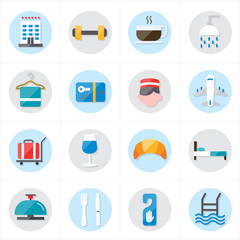 Flat Icons For Hotel Icons and Travel Icons Vector Illustration