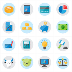 Flat Icons For Finance Icons and Business Icons