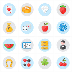 Flat Icons For Casino Icons and Game Icons Vector Illustration