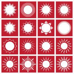 Sun icon set red vector illustration