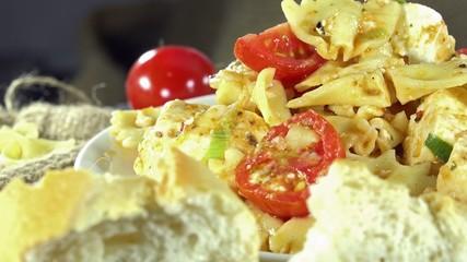 Seamless loopable Pasta Salad as 4K UHD footage