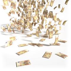 Geldregen aus 50 Euroscheinen