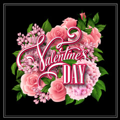 Valentine's Day card with beautiful flowers. Vector illustration