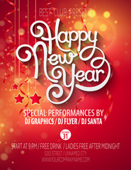 New Year's party poster. Vector illustration