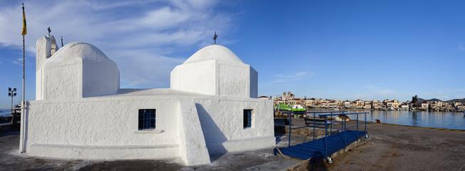 Puerto de la isla de Egina. Panorama. Grecia.