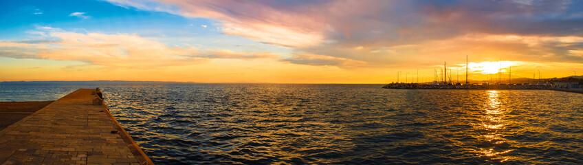 Panoramic view of sunset over Nikiti port