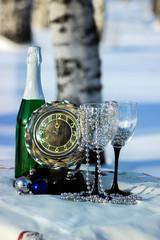 натюрморт с шампанским и часами