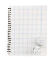 checked notebook  on white