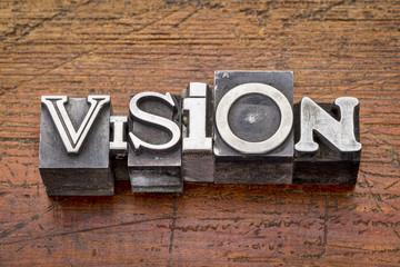 vision word in metal type