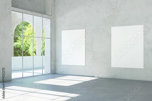 canvas print picture Weiße Leinwände an Wand im Museum