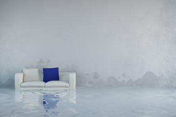 Wasserschaden mit Schimmel an Wand