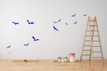 Vögel als Wandtattoo im Zimmer