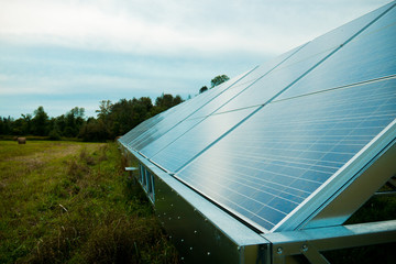 Solar energy panels in a farmer's field