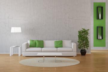 Interior von Wohnzimmer mit Sofa und Teppich