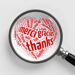 Danke in vielen Sprachen als Herz