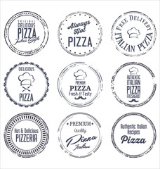 Pizza retro labels