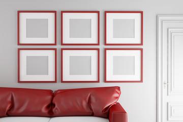 Quadratische Bilderrahmen an Wand