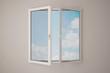 canvas print picture - Fenster mit Himmel und Wolken