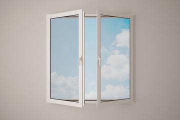 Fenster mit Himmel und Wolken