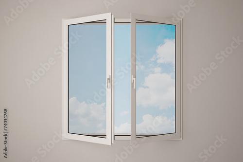 canvas print picture Fenster mit Himmel und Wolken