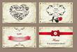 Set of vintage valentine's cards
