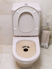 Toilet used as a game of aim.