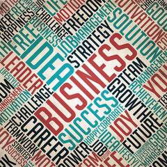 Business - Retro Word Cloud Concept.