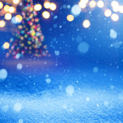 Art snow christmas magic lights background