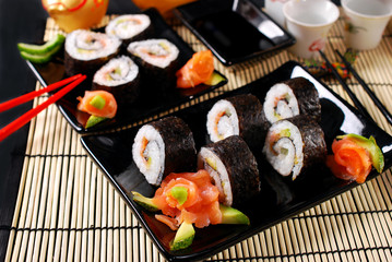 sushi set with salmon and avocado