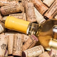 Wine bottle on corks