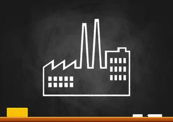Drawing of factory on blackboard