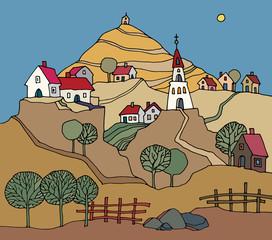 Hand drawn rural landscape