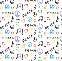 doodle pattern grunge peace, love and music background