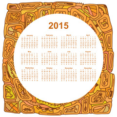 Round calendar designed in the style of Tribal. 2015. Ethno. Vec