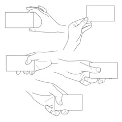 Hand holding blank business card vector set