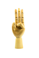 wooden hand on isolated white background