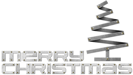 Merry Christmas Metal Folding Ruler Christmas Tree