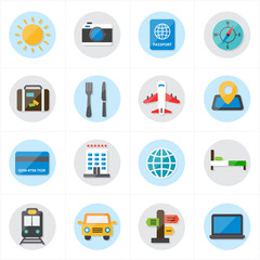 Flat Icons For Travel Icons and Transport Icons