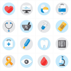 Flat Icons For Medical Icons and Health Icons