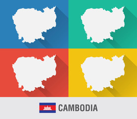 Cambodia world map in flat style with 4 colors.